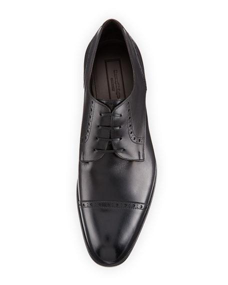 Leather Cap-Toe Derby Shoe, Black