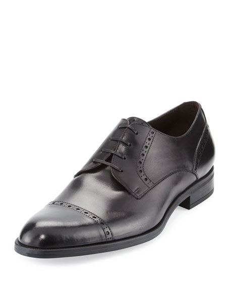 Image 1 of 1: Leather Cap-Toe Derby Shoe, Black