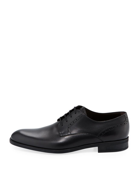 Plain-Toe Leather Derby Shoe