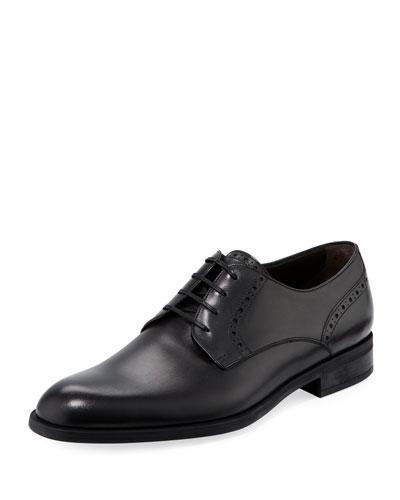 Plain-Toe Leather Derby Shoe