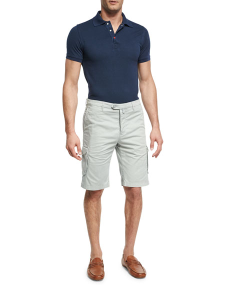 Stretch-Cotton Cargo Shorts, Stone Gray