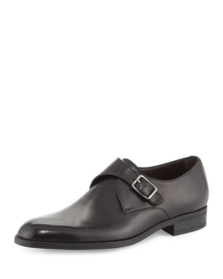Ermenegildo Zegna Leather Monk-Strap Shoe, Black