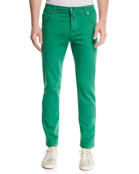 Twill Slim-Straight Jeans, Green