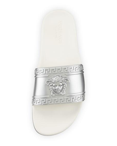 Men's Medusa-Head Slide Sandal, Silver