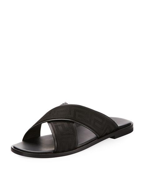 229f8ac30 Versace Men s Greek Key Crisscross Sandal