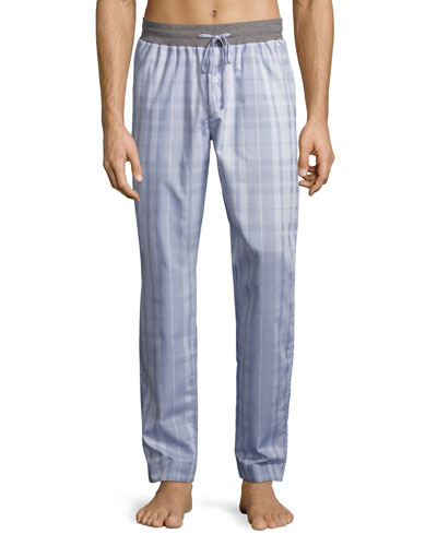 Harvey Plaid Woven Lounge Pants, Light Gray
