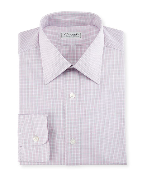 Micro Gingham Cotton Dress Shirt, Pink/White