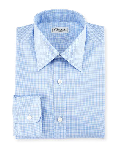 Micro Gingham Cotton Dress Shirt, Blue/White