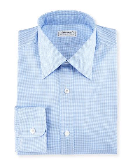 Micro Gingham Cotton Dress Shirt, Blue/White
