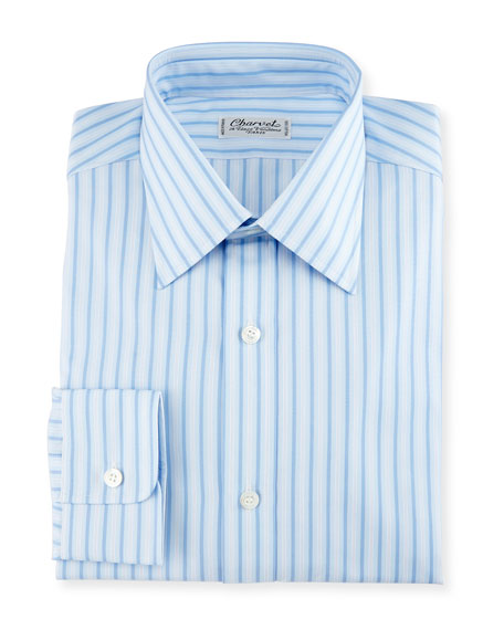 Striped Cotton Dress Shirt, Blue/White