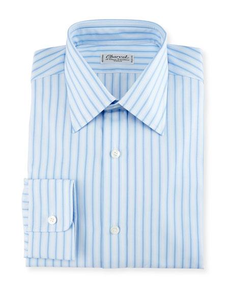Striped Cotton Dress Shirt, Blue/White