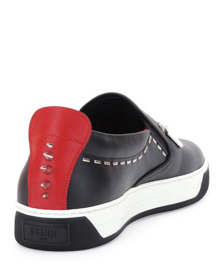 Monster Metal-Stitch Slip-On Sneaker, Black