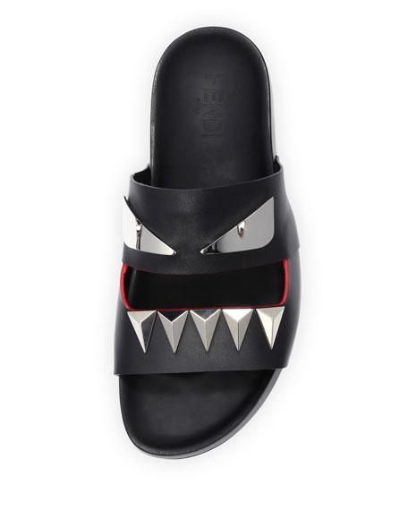 Monster Metal Teeth Double-Strap Slide, Black