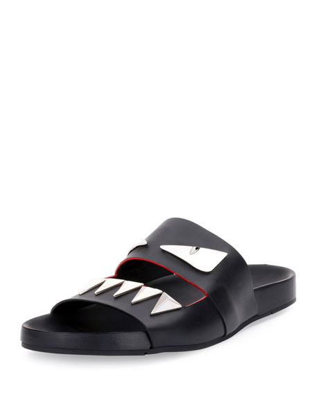 Fendi Monster Metal Teeth Double-Strap Slide, Black
