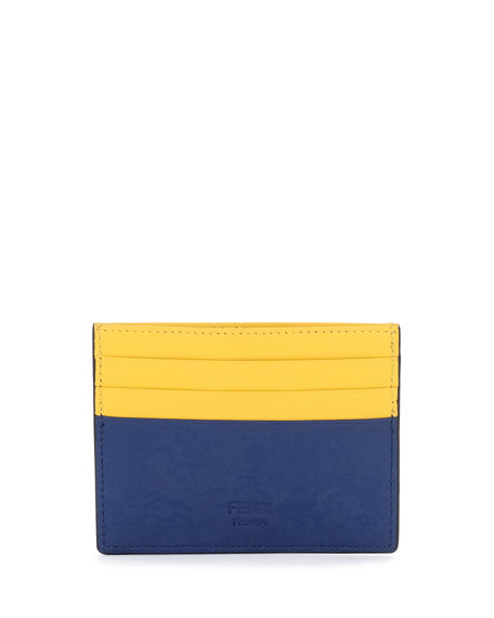 Monster Eyes Leather Card Case, Blue/Yellow