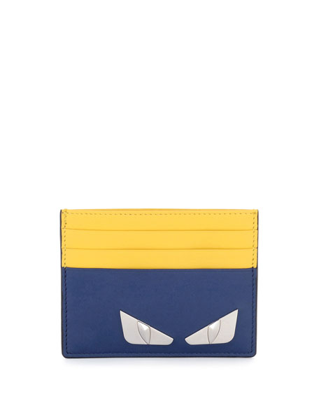 Monster Eyes Leather Card Case, Blue/Yellow by Fendi