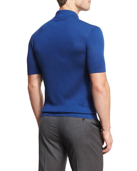 Silk-Cotton Perforated Polo Shirt, Medium Blue