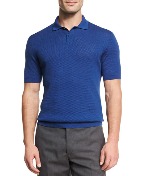 Ermenegildo Zegna Silk-Cotton Perforated Polo Shirt, Medium Blue
