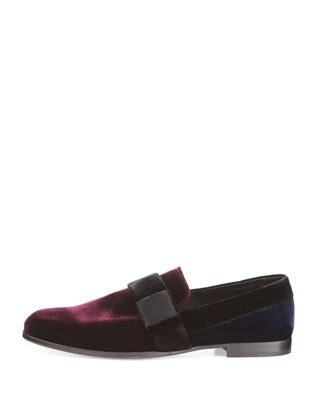 John Men's Colorblock Velvet Slip-On Shoe, Red/Navy/Black