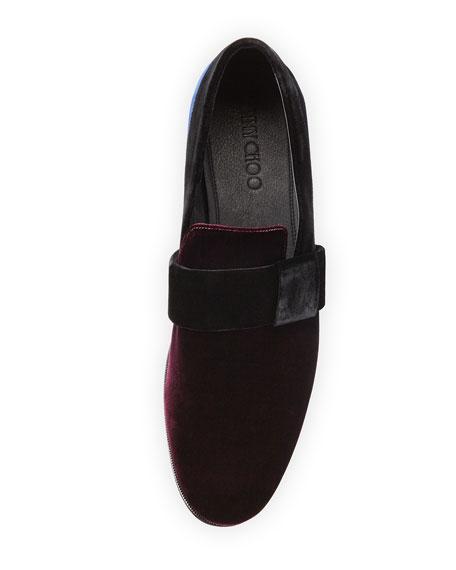 John Men's Colorblock Velvet Slip-On Shoe, Red/Navy/Black