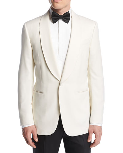 Satin-Collar Dinner Jacket  White