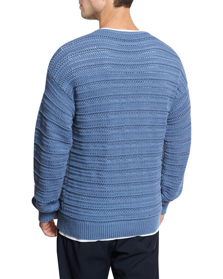 Horizontal Textured Crewneck Sweater, Dutch Blue