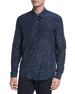 Pencil Dot Sport Shirt, Navy