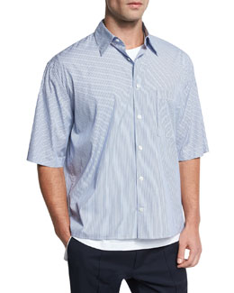Boxy-Fit Pleated Short-Sleeve Shirt, Navy
