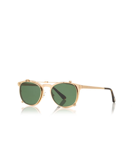 TOM FORD Special Edition Clip-On Sunglasses, Rose Gold/Green