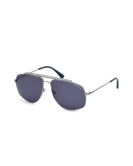 TOM FORD Georges Angular Aviator Sunglasses, Light Ruthenium
