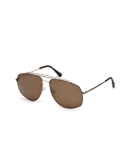 TOM FORD Georges Angular Aviator Sunglasses, Rose Golden