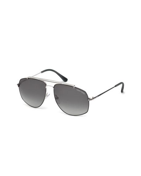 TOM FORD Georges Angular Aviator Sunglasses, Silver