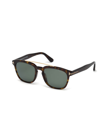TOM FORD Holt Square Acetate Sunglasses, Blonde Havana