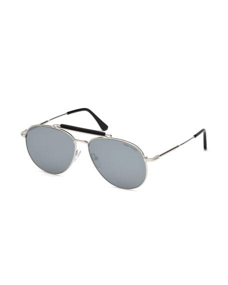 TOM FORD Sean Metal Aviator Sunglasses, Palladium/Black
