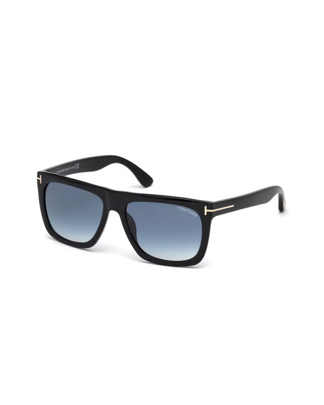 TOM FORD Morgan Thick Square Acetate Sunglasses, Black