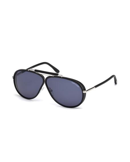TOM FORD Cedric Acetate Aviator Sunglasses, Black