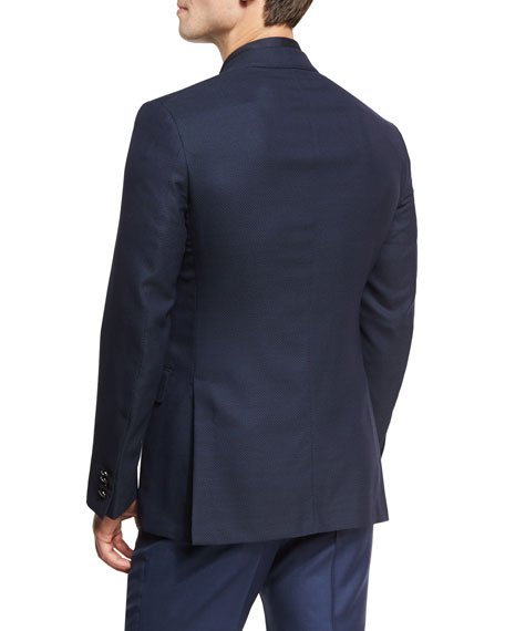 Milano Easy Fit Cool Effect Check Textured Sport Coat, Navy