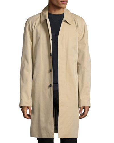 Oakham Gabardine Single-Breasted Car Coat, Honey (Beige)