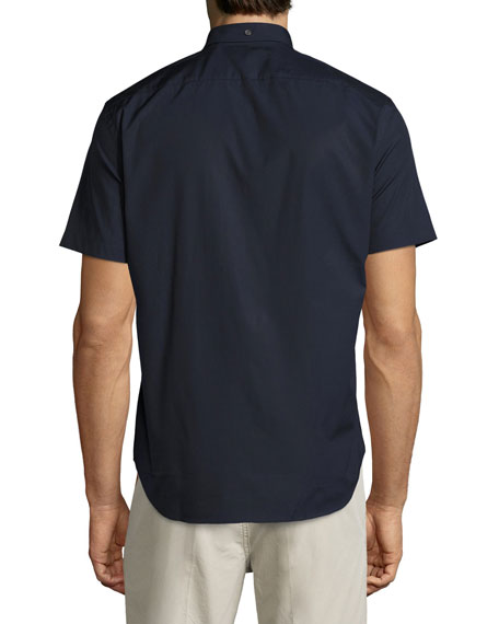Cambridge Short-Sleeve Stretch-Cotton Shirt, Navy