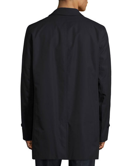 Gabardine Single-Breasted Rain Coat, Navy