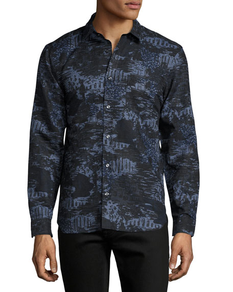 9062fd1e29 Burberry British Seaside Coastal-Print Sport Shirt, Bright Navy