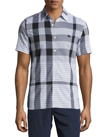 Ancroft Tonal-Check Short-Sleeve Cotton Shirt, Black