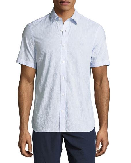 Striped Seersucker Short-Sleeve Shirt, Light Blue