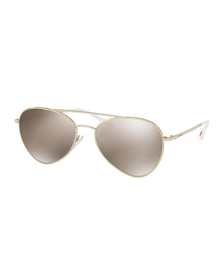 Prada Linea Rossa Mirrored Aviator Sunglasses