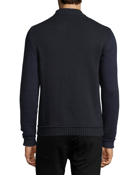Wool-Nylon Sweater with Logo Applique