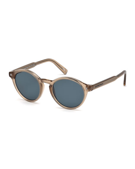 Ermenegildo Zegna Round Acetate Sunglasses with Chevron Core,