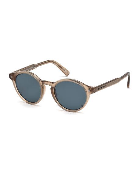 Round Acetate Sunglasses with Chevron Core, Champagne