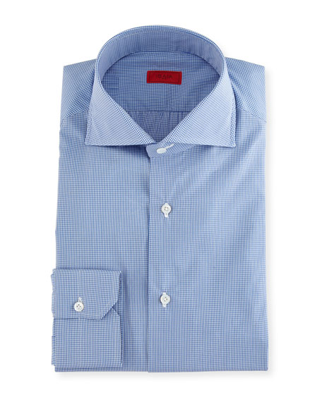 Slim-Fit Gingham Check Dress Shirt, Blue