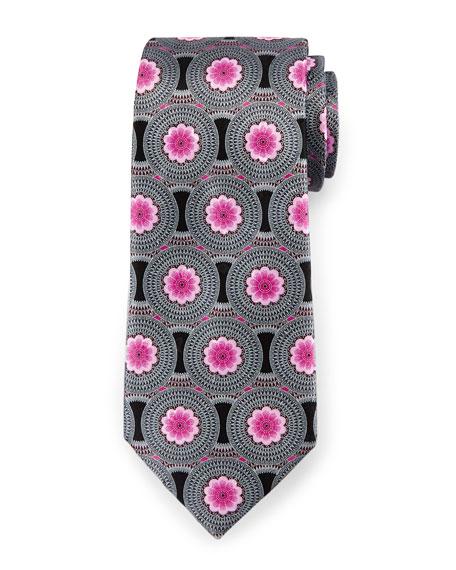 Circle Flower Medallion Tie, Black