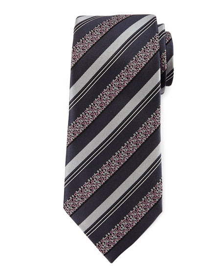 Ermenegildo Zegna Satin Floral Striped Tie, Gray